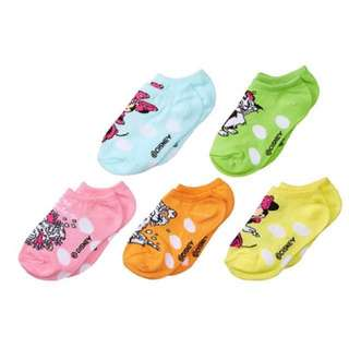SALE 45% Off - Fits US 5-6.5 (insole 13 cm) BNWT Disney Store Minnie Mouse 5 pairs no show socks