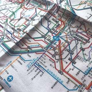 Japan Tokyo Train Subway Map Handkerchief (J-culture / travel / collectibles)