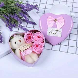 Valentine's Bear Flower Set (heart)