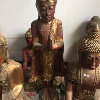 Thai Buddha Statue Wood Caving (About 30 Year Old )
