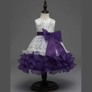 Fancy Lace Princess Ruffles Fluffy Party Dress VIOLET