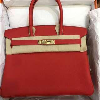 正品 全新 Hermes Birkin 30 D5 天竺紅金扣手挽袋