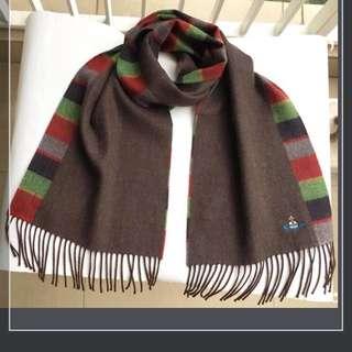 QQ) 購自日本 日版Vivienne Westwood 超輕 柔軟又保暖 星球刺繡logo 雙面 頸巾 (日本製)
