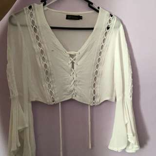 white long sleeve flared crop top, festival top