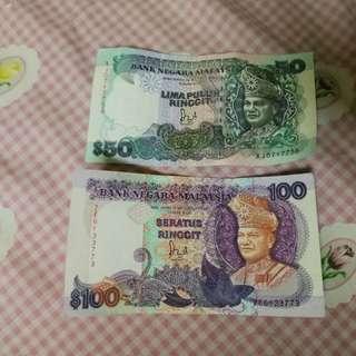 Duit RM100 & RM50 Lama