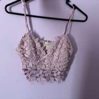 pink floral lace bardot crop top / bralette