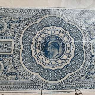 British INDIA  - King EDWARD - 2 Annas - vintage Stamp Bond Paper inde India Indien Fiscaux Fiscal Revenue