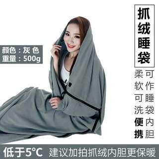 便攜睡袋 抓絨睡袋內膽 (灰色) 重量:大約 500g
