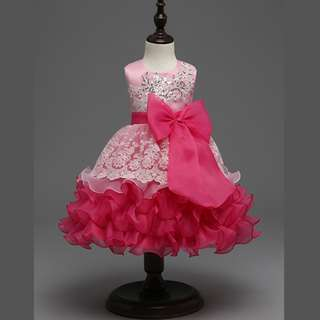 Fancy Lace Princess Ruffles Fluffy Party Dress PINK