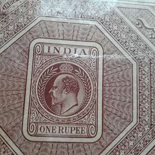 British INDIA  - King EDWARD - 2 Rupees - vintage Stamp Bond Paper inde India Indien Fiscaux Fiscal Revenue