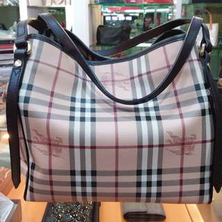 Burberry Small Haymarket Check Canterbury Tote Chocolate