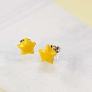 情人節禮物❤幸運星耳環⭐(黃色)