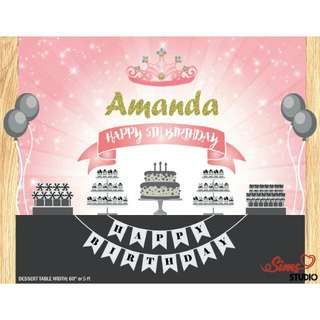 Princess Backdrop | Princess Birthday Backdrop | Party Banner | Poster | Signage | Personalised | Printable ONLY