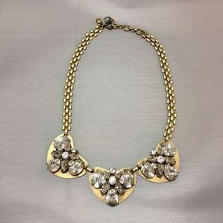 J Crew Crystal and Gold Necklace