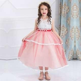 Girl Concert Long Dress Formal Princess Evening Dress Party Wedding RED 5-10y