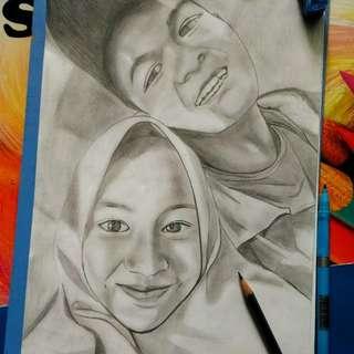Lukisan sketsa wajah/full hitam handmade ukuran A4 + frame