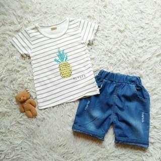 Baju anak Set import Mr. Pinneapple Denim