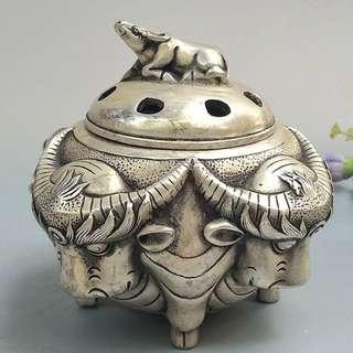 銀銅香爐(牛)