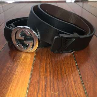 Gucci And Loui Vuitton Belt bundle