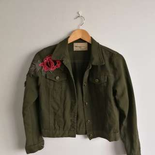 denim jacket with roses from Boohoo