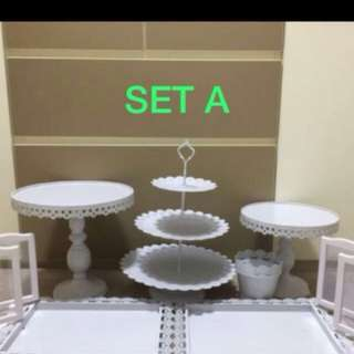 Cake Stand, Dessert plates, dessert tray for rent, party set