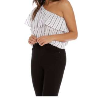 One shoulder stripe linen top