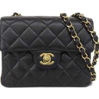 Chanel classical flag mini 17cm caviar bag with 24k gold hardware
