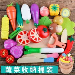 BN Wooden Magnetic Cutting Foods Healthy Vegetables Toy Set (B)