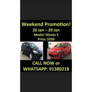 26-29 Jan Mazda 5 Weekend Promotion