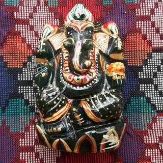 Ganesha Statue Handpainted Green Stone