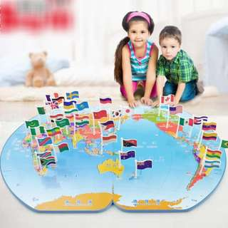 Kids World Map and Flags toy set