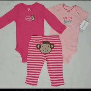 Carter's Pink Onesies & Pant Girl Set