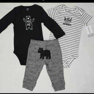 Carter's Black Onesies & Pant Boy Set