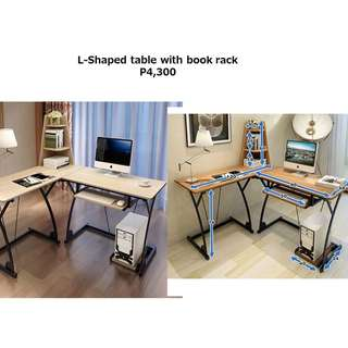 L-Shaped Desk Table with Book Rack