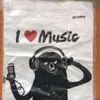 Sony 米白色 環保袋 tote bag I ❤️ music