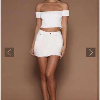 Meshki white mini skirt