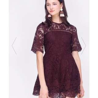 (BNIT) Fayth Charlyn Lace Dress in plum, size XL