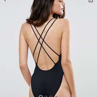 Asos High Cut Black One Piece Swimsuit