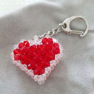 Crystal beads heart keychain