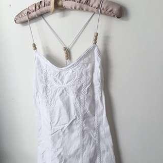 地衣白 刺繡 洋裝 dress