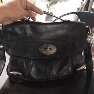 Fossil black leather sling bag