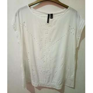 Mango Blouse With Eyelet Cutout Design
