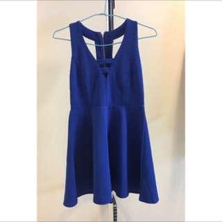 🚚 鏤空A字短洋裝💗寶藍💗