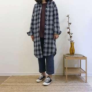 🚚 正韓 格紋長版襯衫外套