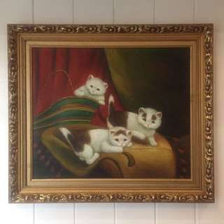 Cats Painting with Frame