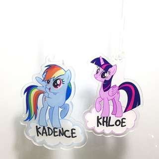 Personalised bagtag / luggage tag - My little pony