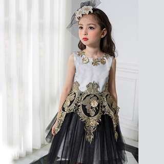 Summer Flower Girl Dress Retro Lace Princess Costume Bronzing Flowers