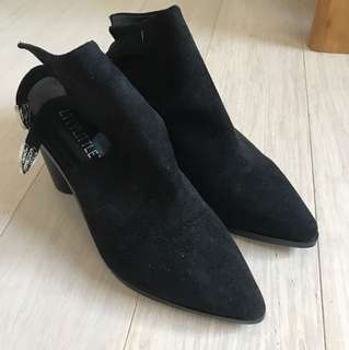PLT suede buckled booties