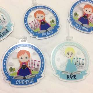 Personalised frozen bagtag / luggage tag elsa anna frozen