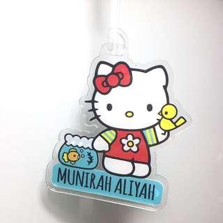 Personalised luggage tag / bagtag - hello kitty